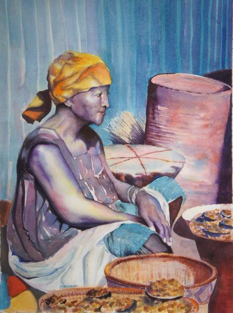 Peanut Vendor in the Ouagadougou Market, watercolor by Carolyn Newberger.