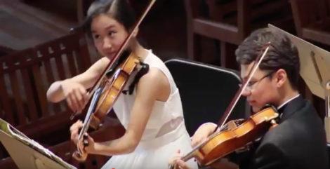 Student musicians performing at Ozawa Hall during BUTI's 50 anniversary concert.