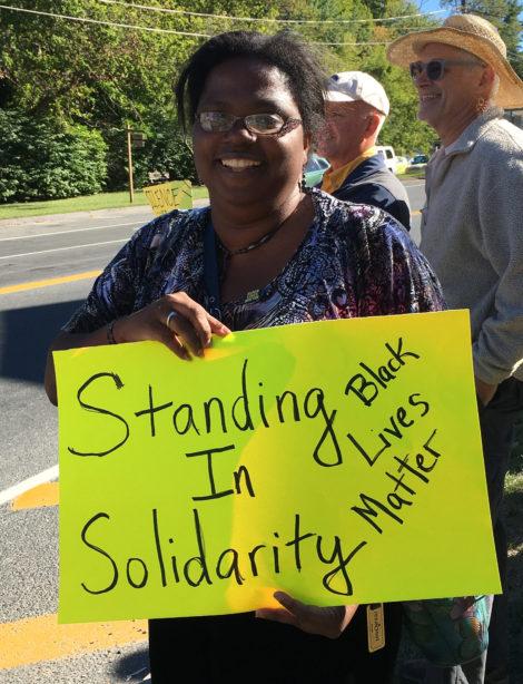 Multicultural BRIDGE Director Gwendolyn VanSant at protest in Great Barrington on Sunday (Sept. 25). Photo: David Scribner