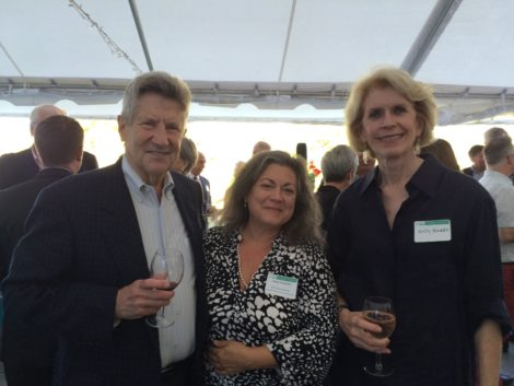 Liana Toscanini (center), director of the Nonprofit Center of the Berkshires and Southern Berkshires Chamber board member, flanked by Fred and Sally Harris of St. James Place in Great Barrington. Photo: Marcie L. Setlow