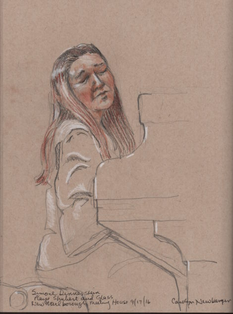 Simone Dinnerstein. Illustration by Carolyn Newberger