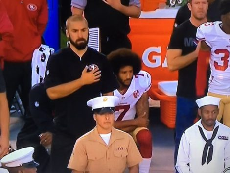 San Francisco 49ers quarterback Colin Kaepernick kneels during the National Anthem at an August game. Photo: Tim Williams for KRON4.com