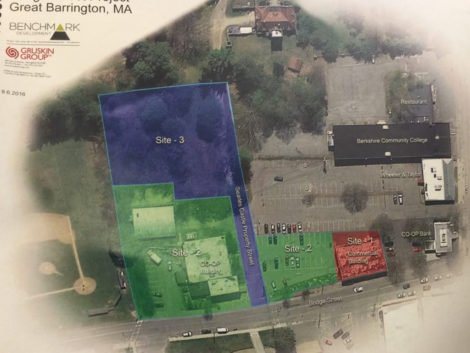 The site plan for the proposed $15 million commercial and residential development on Bridge Street that would have the Berkshire Co-op Market as an anchor tenant.