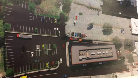 An aerial view of the proposed building by Benchmark Development and Gruskin Group Architecture & Design.
