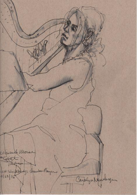 Harpist Elizabeth Morse. Illustration: Carolyn Newberger