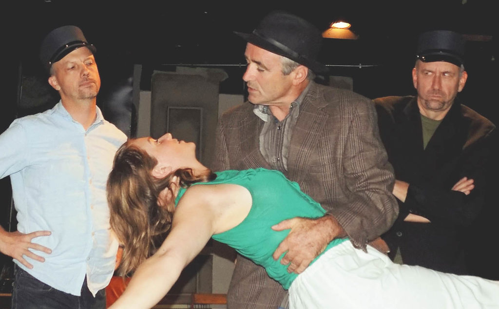 Kevin Kilb, Meaghan Rogers, Christopher Gilbert and Brian Wagner in 'The 39 Steps' at the Ghent Playhouse. Photo: Matt Sikora.