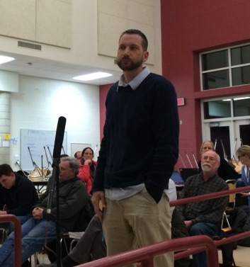 Kindergarten teacher Jack Curletti speaking at a school budget hearing last spring. Photo: Heather Bellow.