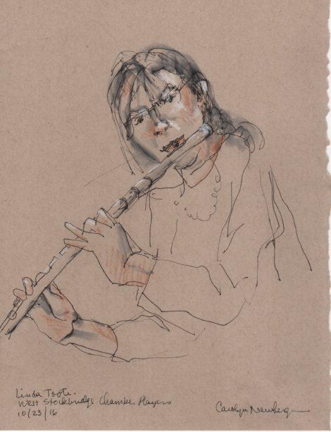 Flutist Linda Toote. Illustration: Carolyn Newberger