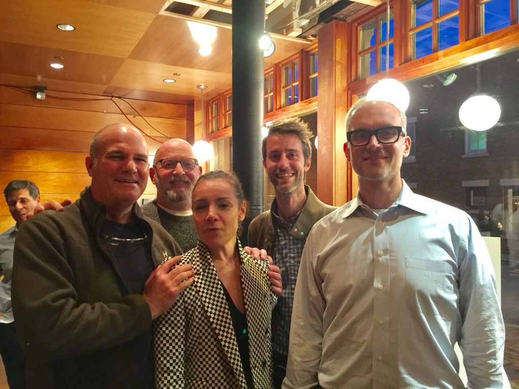 From left: Bruce Moore and Michael Alpert of Red House Design, Allium's Nancy Thomas, Andrew Personette, and 47 Railroad developer Sam Nickerson. Photo: Heather Bellow.