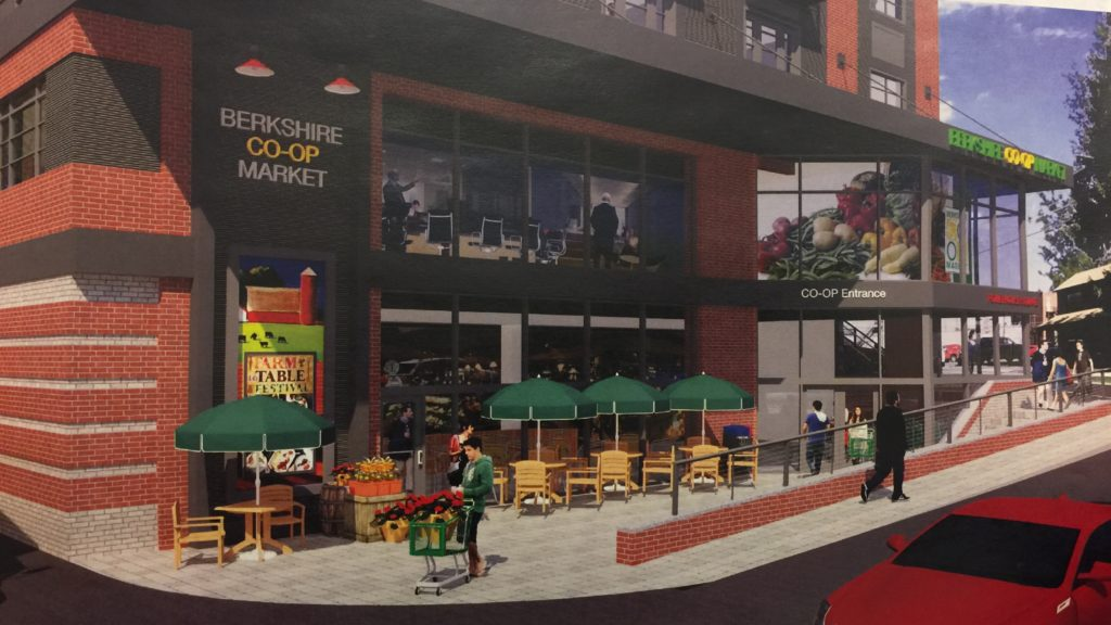 The new Co-op's main entrance will send customers past the cafe's outdoor seating.