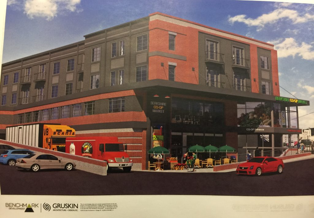 The proposed building as seen from the parking lot. The loading dock faces south.