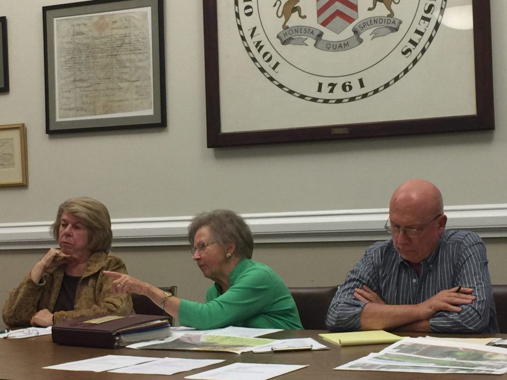 Abby Schroeder left, and Barbara Syer, center, who opposes the current plan by Benchmark Development for a 36-unit building and parking garage near the Searles property. At Syer's right is Chair Donald Howe, who also said he is unhappy with elements of the project. Photo: Heather Bellow.