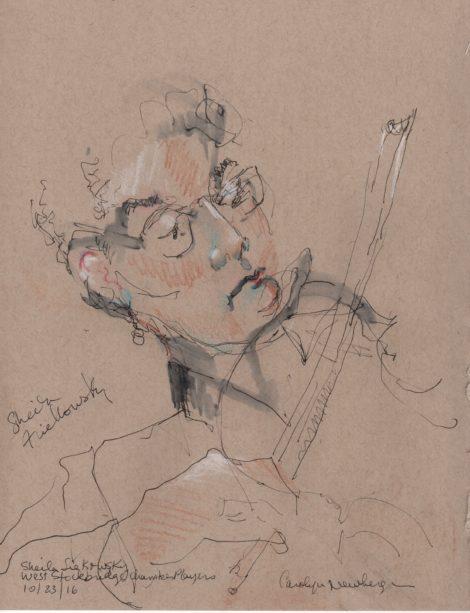 Violinist Sheila Fiekowski. Illustration by Carolyn Newberger.