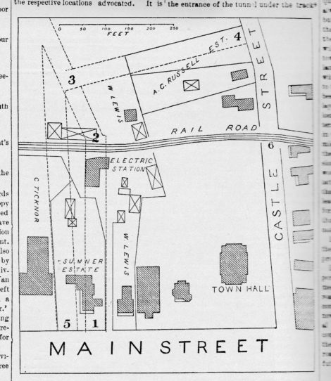 The Berkshire News commissioned this map in 1894 to illustrate two possibilities for the placement of what became Taconic Avenue in Great Barrington.