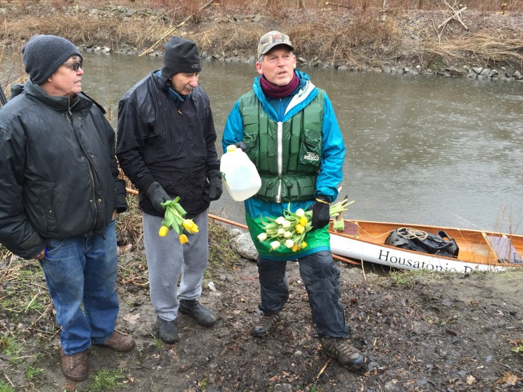 At Fred Garner Park in Pittsfield where GE has successfully cleaned the river. From left: Housatonic River Initiative's Tim Gray and Benno Friedman with Denny Alsop, who paddled on the Housatonic River to Boston to draw attention to the river. Photo: Heather Bellow.