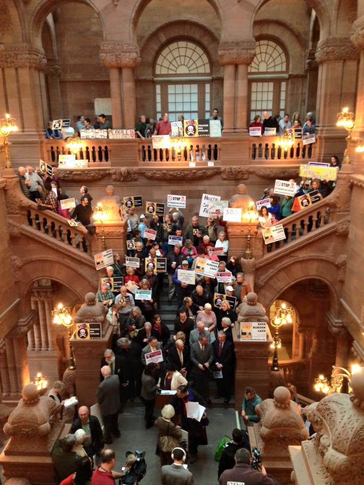 An anti-fossil fuel rally at the Albany, New York, state capitol building in January.