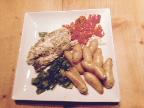For his guest Warwick prepared this dish of cod, finger potatoes, and peppers. Photo: Laurily Epstein