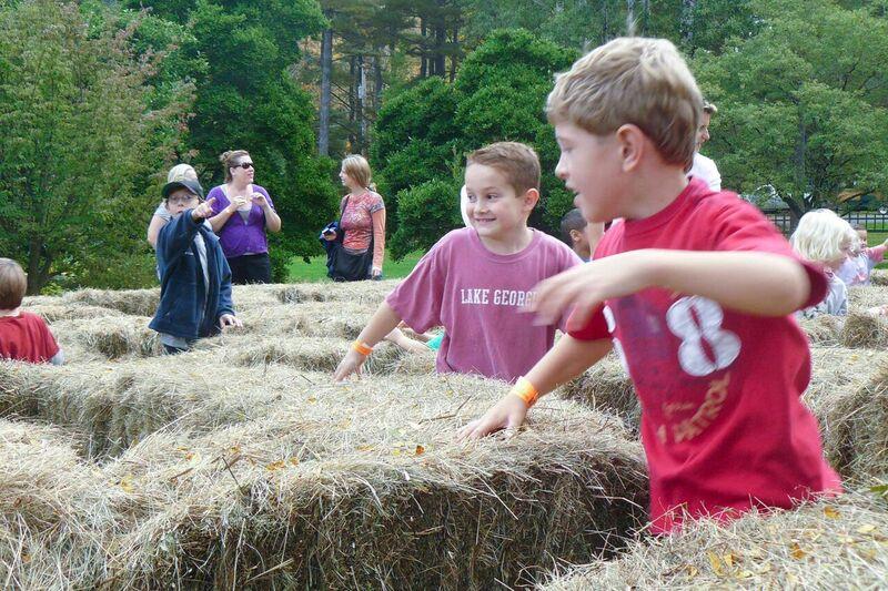 Children enjoy the hay maze at the 2015 Berkshire Botanical Garden Harvest Festival.