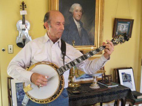 Paul Kleinwald at home, playing his 5-string banjo. Photo: Beth Carlson
