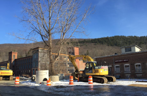 The town's grant funded infrastructure work to a large storm water main continues at the site of Nick Kelley's Monument Mills complex. Photo: Heather Bellow