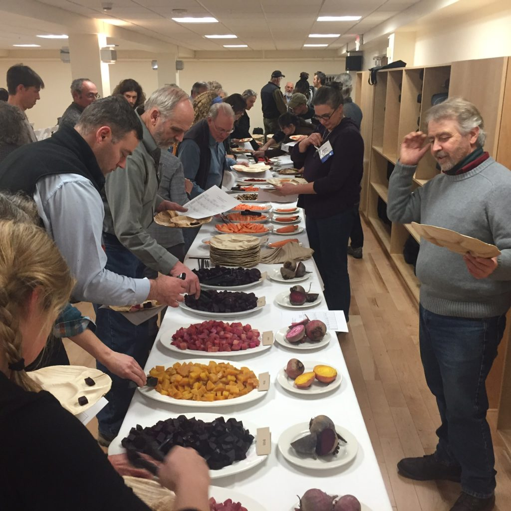 Sensory Evaluation of Vegetables workshop led by Lane Selman and John Navazio at the recent Soil and Nutrition Conference at Kripalu. John Navazio front right. Photo courtesy of Lane Selman. All rights reserved.