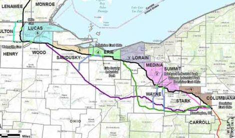 A map of the NEXUS pipeline through northeastern Ohio.
