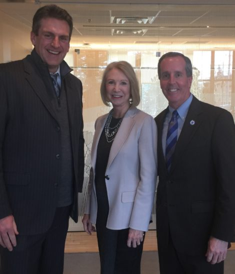 """Massachusetts Secretary of Housing and Economic Development Jay Ash, left, met with Iredale Mineral Cosmetics founder and president Jane Iredale and Rep. William """"Smitty"""" Pignatelli, D-Lenox, at Iredale's world headquarters in Great Barrington. Photo: Heather Bellow"""