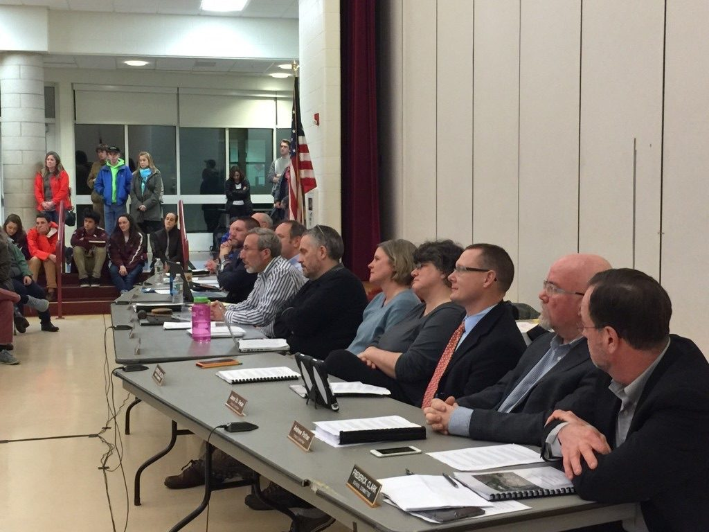 The Berkshire Hills School Committee at a budget hearing last year. The committee must now deal with legal fallout from sexual abuse allegations against former employee Scott Muir, who was acquitted of criminal charges in 2014. Photo: Heather Bellow