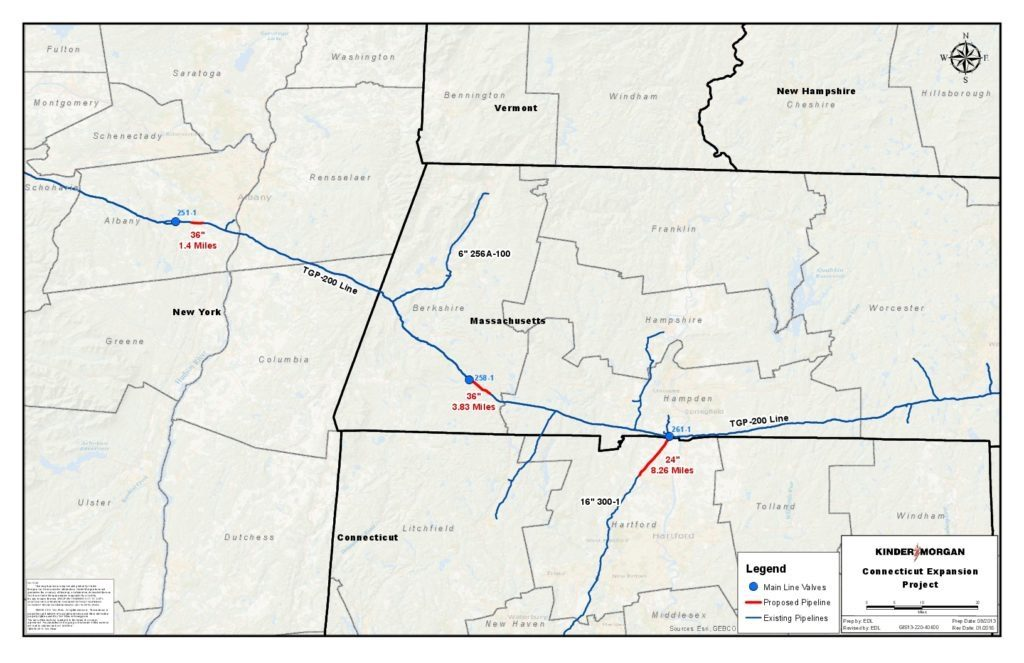 A map of the Connecticut Expansion Project pipeline proposed by Tennessee Gas Pipeline Co. New line(s) in red. The Sandisfield 'loop' is 3.83 miles of additional 36-inch pipe through Otis State Forest.