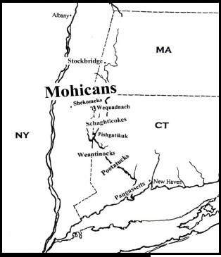 The Mohican territory in the Hudson and Housatonic River valleys.