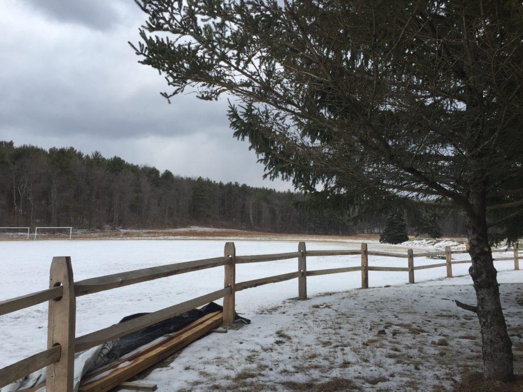 About 400 feet away from the early childhood playground would be a large, ground-mounted solar array that would generate energy for three municipalities in central Massachusetts. Photo: Heather Bellow