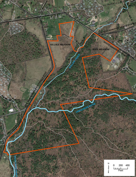 A map of the 114-acre New Marlboro Preserve. The preserve is outlined in red; the New Marlborough village green is at the top.