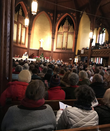 A standing room-only crowd in the Church of Christ Congregational in Pittsfield to hear speakers appeal for observance of the four freedoms. Photo: Marcie Setlow