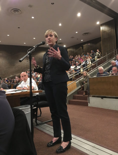 Principal Marianne Young speaking at the Great Barrington Town Meeting. Photo: David Scribner