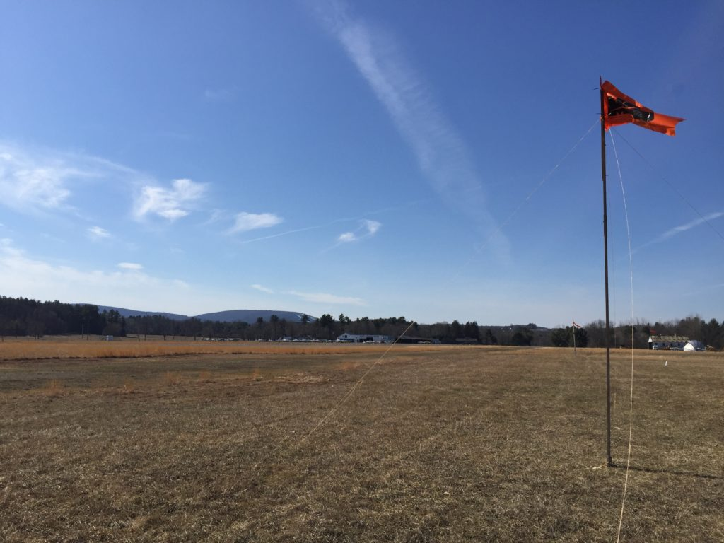 Flags mark the footprint of the three proposed hangars to the left of the runway. Photo: Heather Bellow
