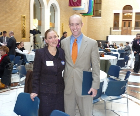 Berkshire Immigrant Center's program coordinator Brooke Mead with former State Sen. Ben Downing, during a Senate presentation of a citation to the Immigrant Center.