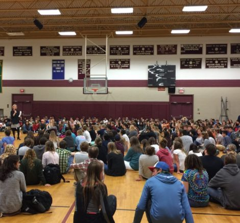 Marianne Young addressing a school assembly last year. Photo: Heather Bellow