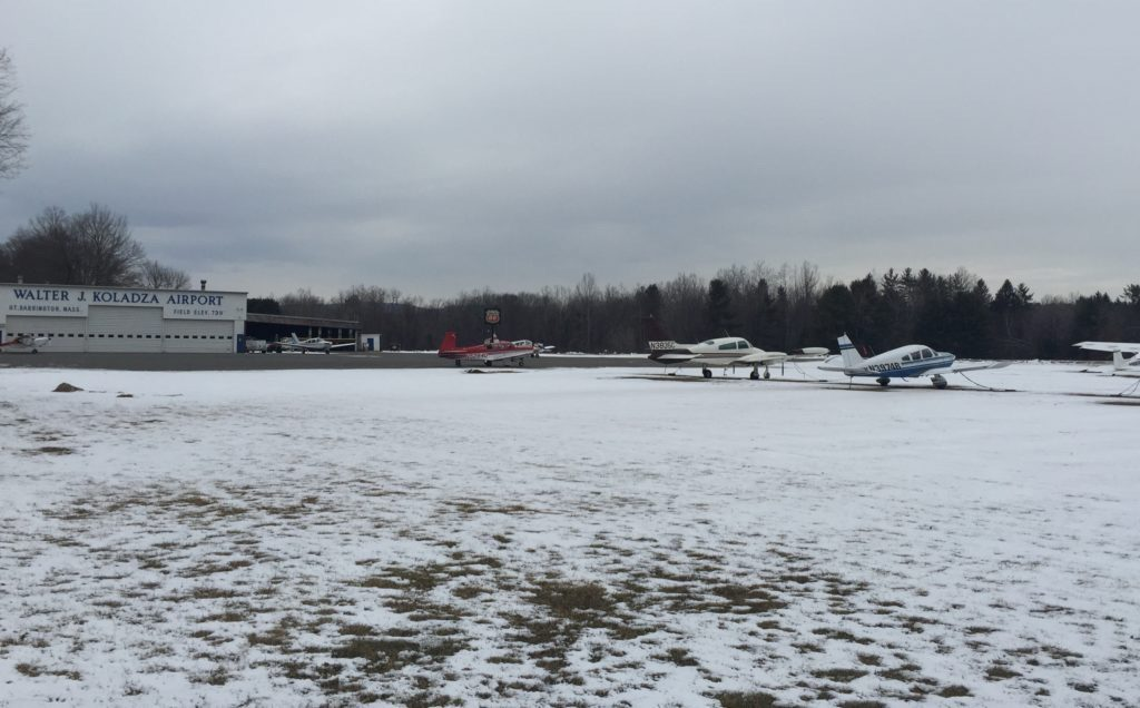 The Walter J. Koladza Airport. The 40 planes now at the airport are tied down. Photo: Heather Bellow