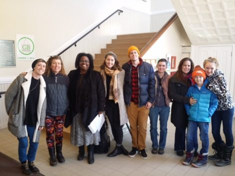 Gwendolyn Van Sant (third from left) with SURJ and Multicultural BRIDGE staff submitting citizens' petition at Great Barrington Town Hall. Photo: Sara Mugridge