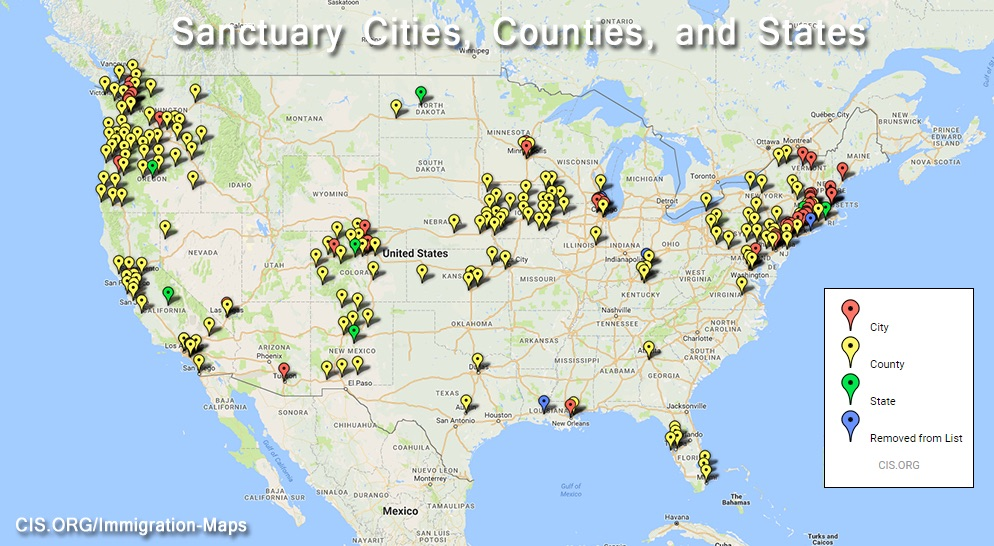 A map of the sanctuary cities and counties as of Jan. 26, 2017, that will defy attempts by President Donald Trump to use local police departments as surrogate immigration agents to identify and deport undocumented immigrants.