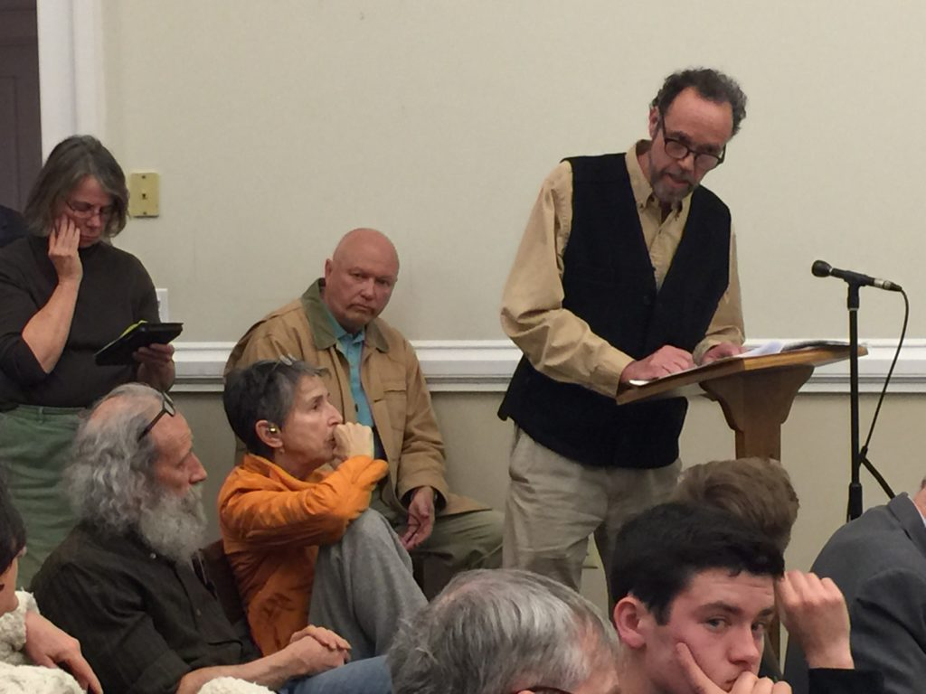 Airport neighbor James Webber brings up the issue of leaded avgas. Photo: Heather Bellow