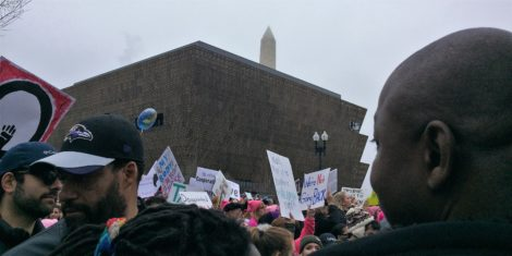 The National Museum of African American History and Culture and the Washington Monument in the background.