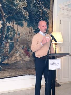 Senate tourism committee chair Adam Hinds delivers the keynote address at a gathering of MASSCreative member organizations at the Mount in Lenox on Dec. 16, 2016, when he was Senator-elect. Photo courtesy of the office of State Sen. Adam Hinds