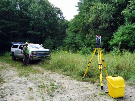 Last summer, an Ohio survey firm was marking the path of the proposed Connecticut Extension in Otis State Forest. Photo; Heather Bellow