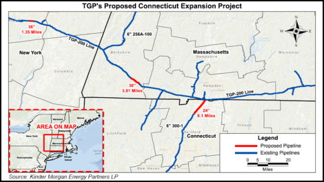 A map of the route of the Connecticut Extension. Source: Natural Gas Intelligence.