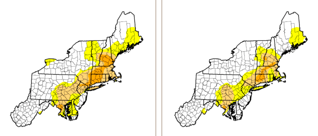 A comparison of the level of drought in the Northeast on March 14, left, and March 21, right. Image courtesy U.S. Drought Monitor