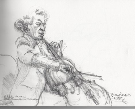 Cellist Yehuda Hanani. Illustration by Carolyn Newberger