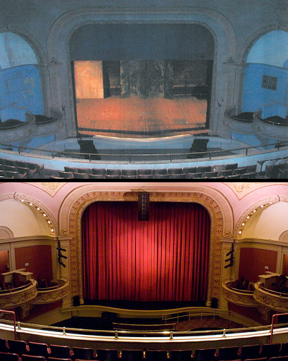 The Mahaiwe proscenium before and afater the renovation led by Hugh Hardy.