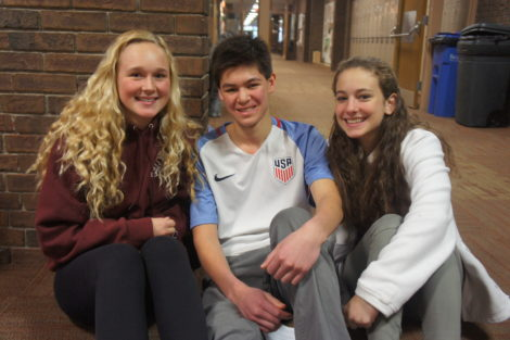From left, MMRHS sophomore students Reeve Schroeder, Aidan Santos, and Fionna Shea who watched 'Hidden Figures.' Photo: Hannah Barrett