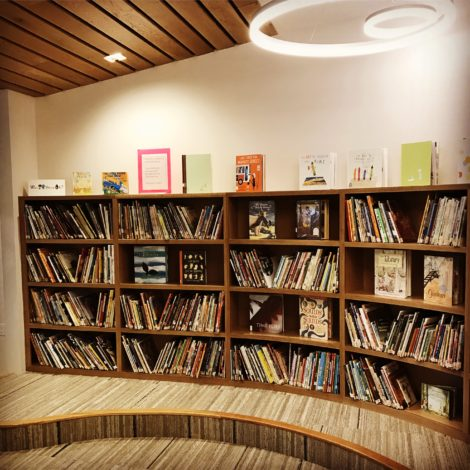 Bookscases in the new library.
